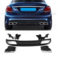 C Class PP Rear Bumper Lip Diffuser with Exhaust Tips 4 Outlet for Benz W205 C200 C220 Sedan 4 Door Change to C63 AMG look 15 17