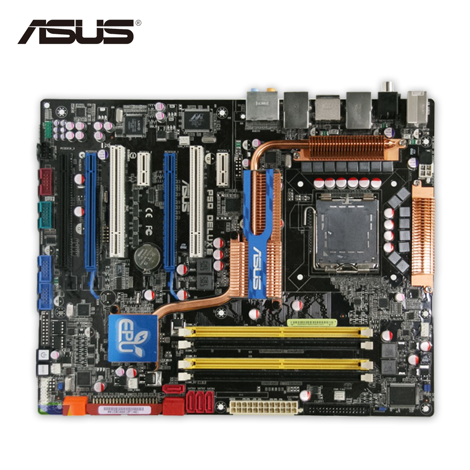 Original Used Asus P5Q Deluxe Desktop Motherboard P45 Socket LGA 775 DDR2 16G SATA2 USB2.0 ATX 100% Fully Test original used asus p5kpl desktop motherboard g31 socket lga 775 ddr2 sata2 atx 100% fully test
