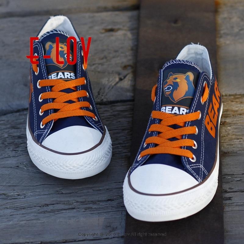 Новинка 2017 года Chicago Bears парусиновая обувь нам Футбол команды Вентиляторы Логотип Печать повседневная обувь Обувь для мальчиков Человек Рос... ...