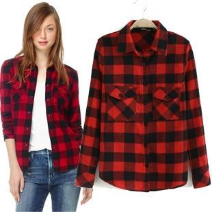 y de plaid mujeres 2015 blusa negro manga larga de moda nueva red primavera otoño shirt 8W4pY7qw