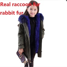 parkas real girl boy natural real rex rabbit fur lining jacket with big raccoon fur collar hoody trim winter child kid'scoats