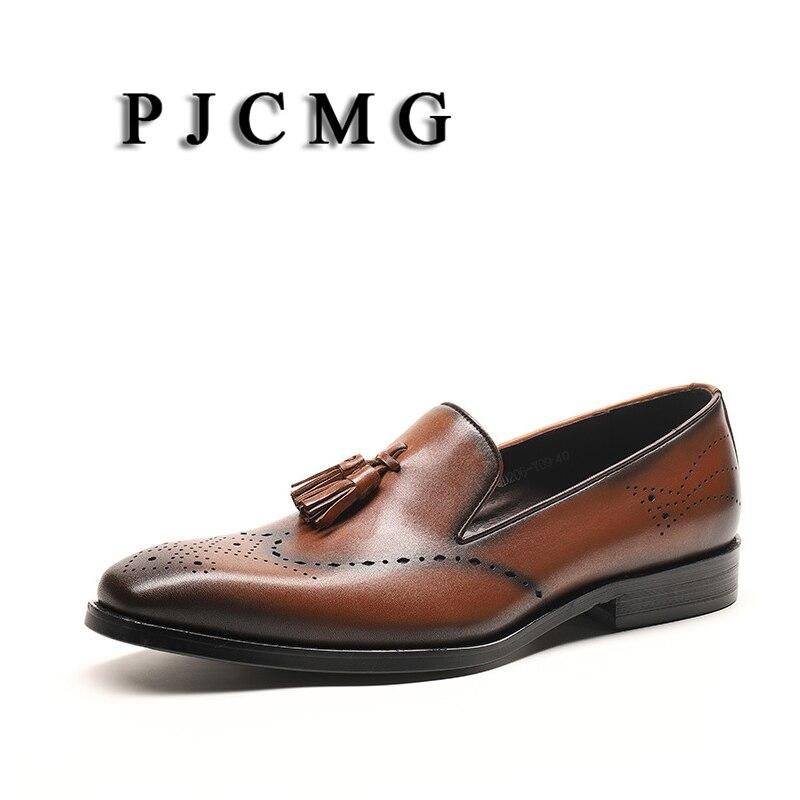 Les hommes noirs/bruns de pjfairy Oxford habillent les appartements de bureau en cuir véritable sans lacet de mariage bout pointu Hombre hommes chaussures d'oxfords avec le gland