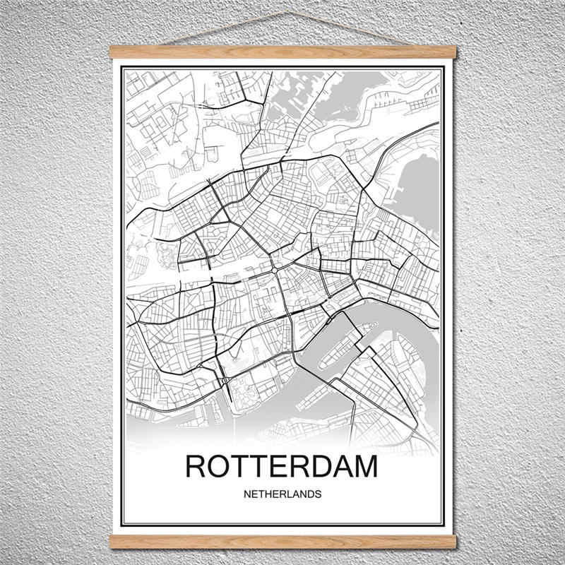 With Frame ROTTERDAM World City map Oil Painting Modern poster Canvas Abstract print picture Customized Pattern Decor Home