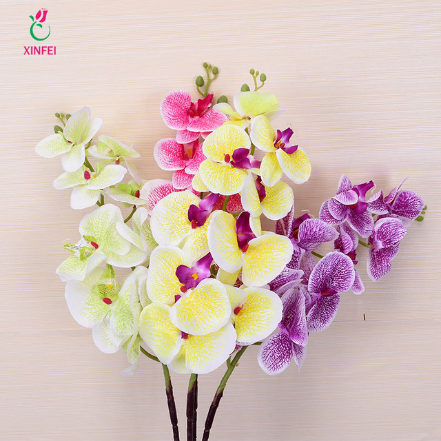 Xinfei Real Touch Silk Orchids Artificial Phalaenopsis Flower Branch