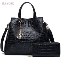 Fashion PU Leather Two Sets Women Crocodile Pattern Messenger Bags Purse and Handbags Butterfly Tassel Casual Tote Sac a Main