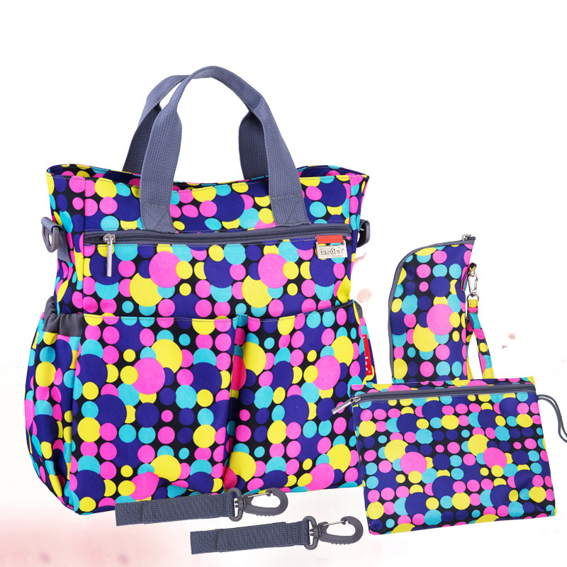 2016 new multicolored dot maternity mother mummy nappy bags multifunctional stroller bags shoulder handbag baby diaper bag