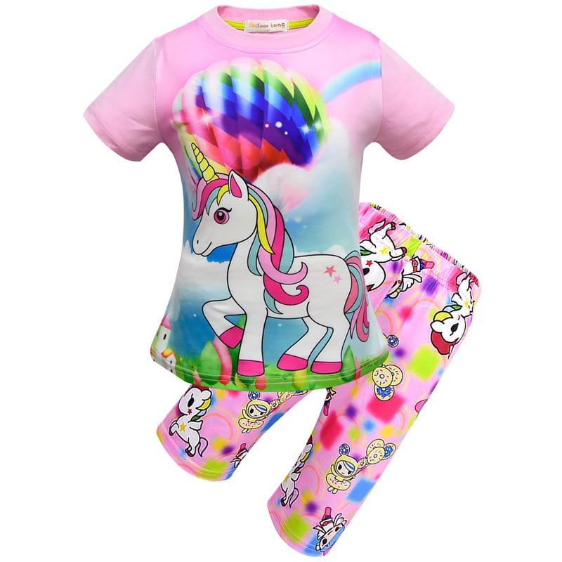 New Summer Kids Pajamas Girls Unicorn Pattern Clothes Cute Unicorn Pajama Set in Pajama Sets from Mother Kids