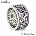 925 Sterling Silver Rings Forget Me Not, Purple European Style Jewelry For Women Original DIY Charms Wholesale CKK