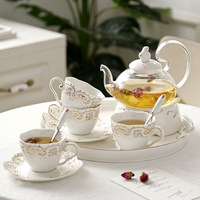 Japanese Teapot Ceramic Tea Set Fruit Tray Heating Glass Pot Elegant Ceramic Cup Dish Gifts