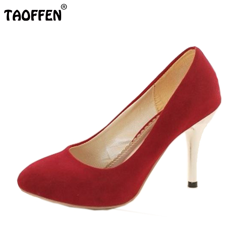 TAOFFEN size 34-47 women genuine leather sexy high heel shoes footwear fashion lady pointed toe female pumps P3927 hot sale taoffen free shipping high heel shoes women sexy dress footwear fashion lady female pumps p13165 hot sale eur size 32 43