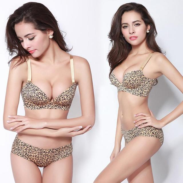 2016 Sexy Breathable Push Up Bra For Woman.Summer without rims to adjust the 3 d massage cup leopard-print underwear