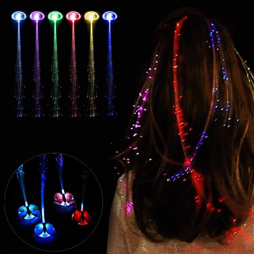 Colorido mariposa luz trenzas LED pelucas brillantes Flash LED pelo trenza Clip horquilla decoración Ligth Up Show fiesta Dropshipping