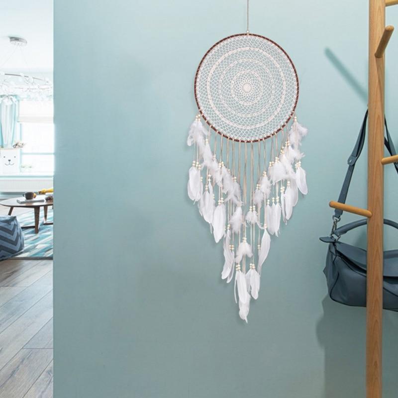 Carillons en forme de fleur en dentelle blanche | Décoration de voiture créative, fait à la main, catcheurs de rêves, pendentif en plume dindiana