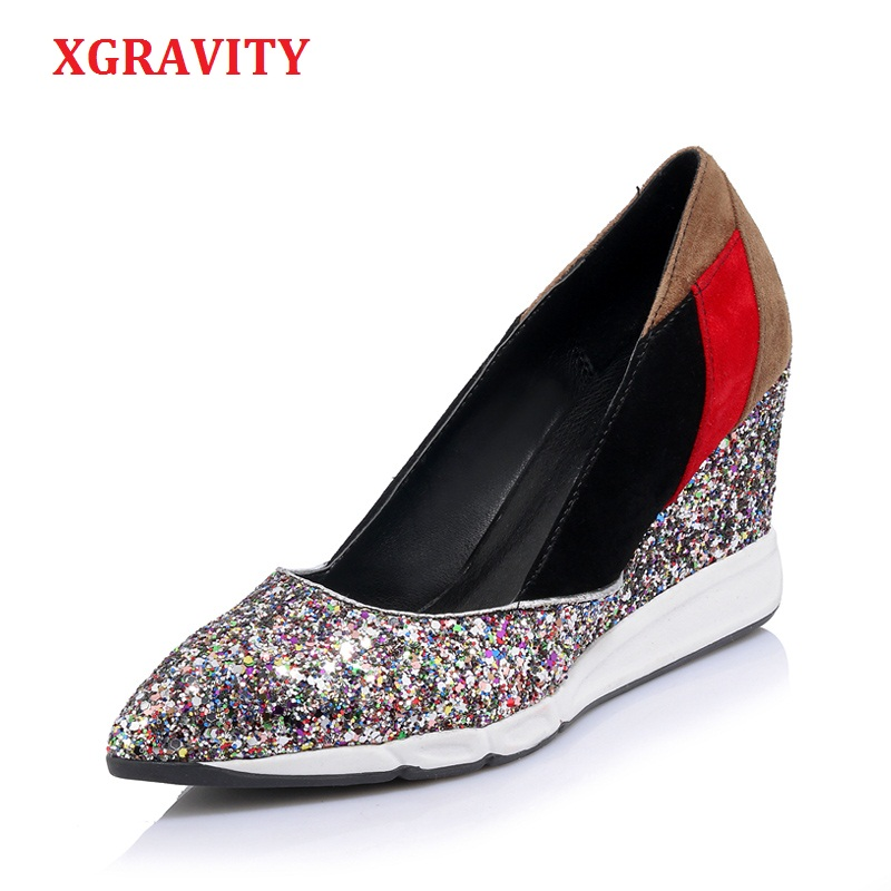Здесь продается  XGRAVITY New Fashion Genuine Leather bling Glitter High Heel Wedges Cow Leather Pointed Toe Woman High Heels Shoes Lady A045  Обувь