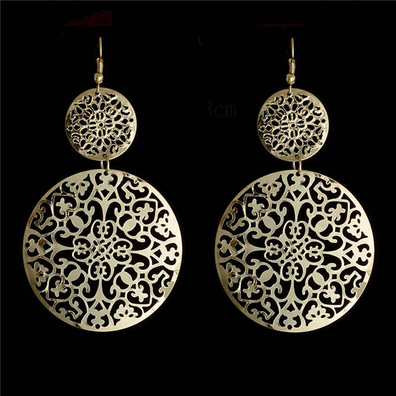 H:HYDE Wonderful Gold Color hollow round shape dangle earrings Drop Jewelry For Women wholesale boucle d'oreille femme DY