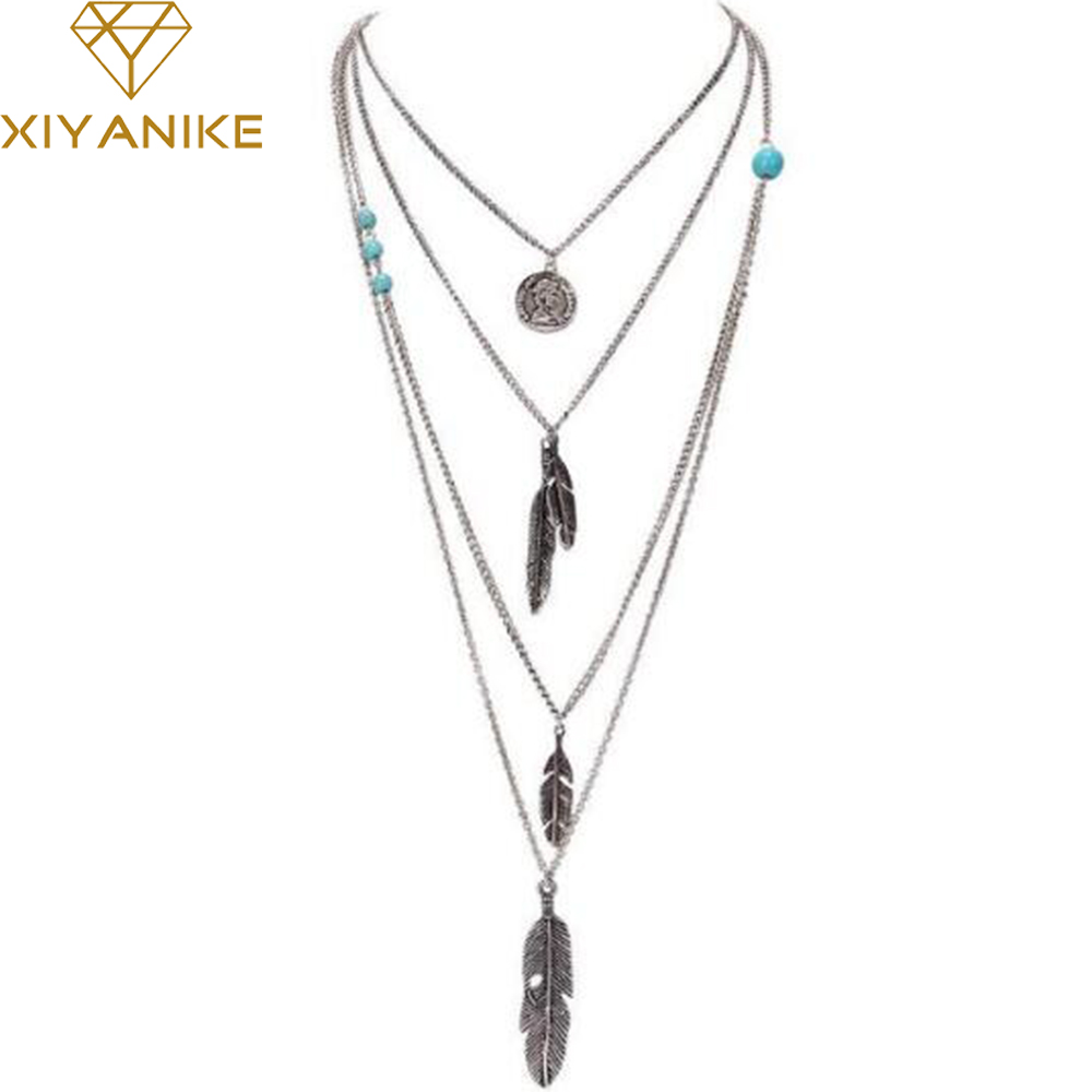 New Brand Fashion Boho Antique Silver Multilayer Feathers Bi