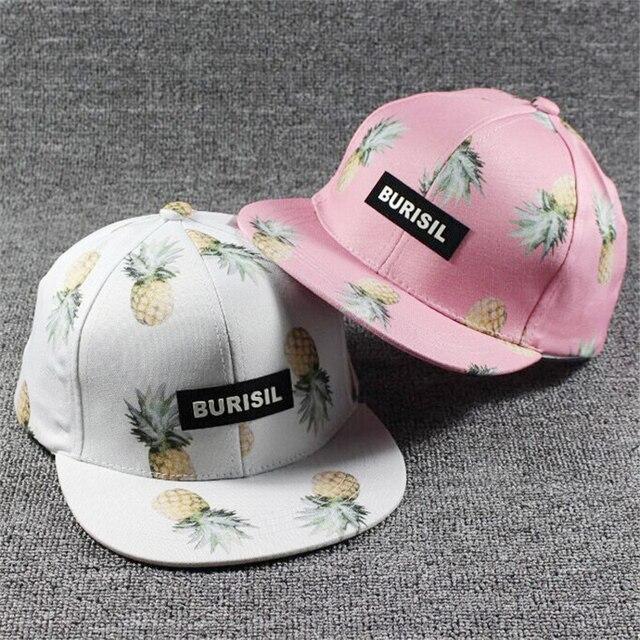 2017 Corea mujeres Hip Hop gorra de béisbol fruta piña del sombrero del sol  de los c3eb80a6966