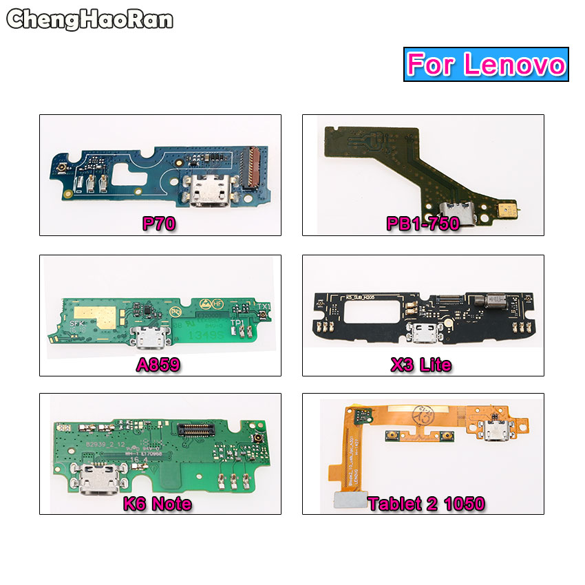 ChengHaoRan USB Charging Dock Port Connector Board With Flex Cable&Mic For Lenovo P70 A859 K6 Note PB1-750 X3 Lite Tablet 2 1050