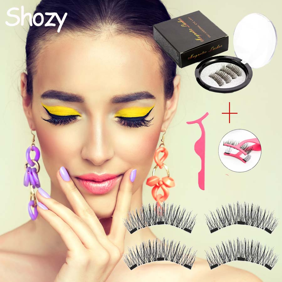 Shozy Magnetic Eyelashes With 3 Magnets Magnetic Lashes Natural False Eyelashes Magnet Lashes With Eyelashes Applicator-24P-3