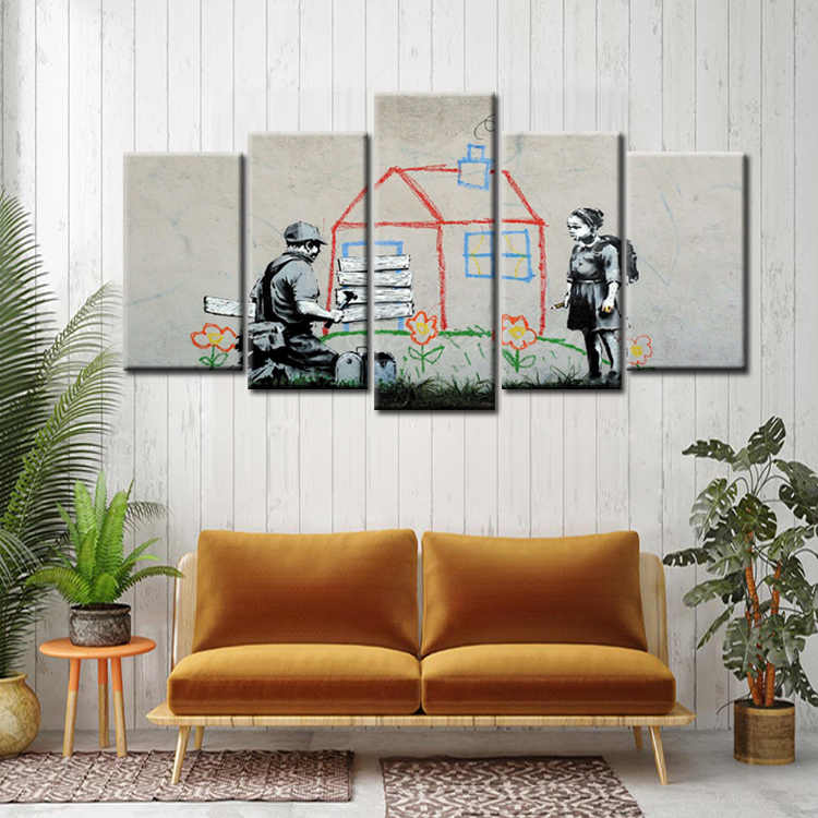 Wholesale 5 Pieces/set Abstract graffiti series poster Canvas Painting for living room Decoration Print Canvas Pictures Framed
