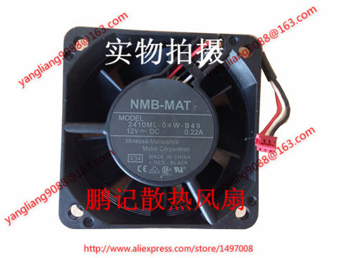 NMB-MAT 2410ML-04W-B49, X34 DC 12V 0.22A, 60x60x25mm  80mm  Server  Square fan nmb mat 3110kl 04w b49 b02 b01 dc 12v 0 26a 3 wire server square fan