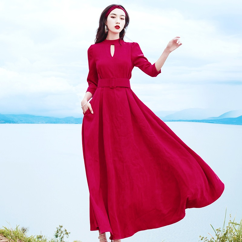 three quarter Sleeve Dress Women 2019 Autumn Winter Dress Women vintage floor length high waist big swingDress Elegant
