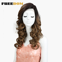 FREEDOM Synthetic Ombre Brown Lace Front Wigs 22 inch Dark Roots Loose Wave Wigs Heat Resistant Fiber for Women Fake Hair Wigs