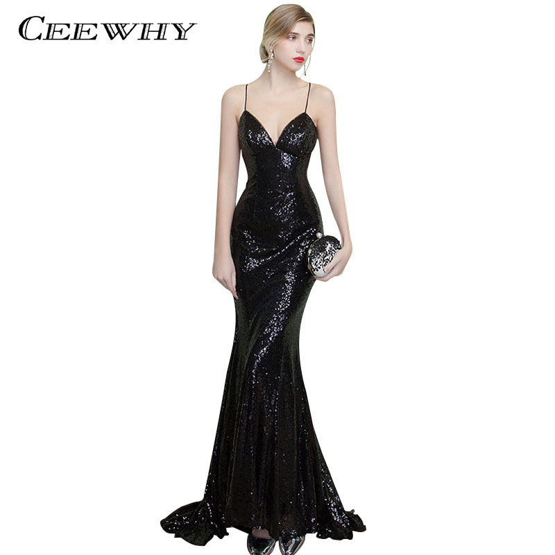 CEEWHY Sexy Backless Long Mermaid Gown Spaghetti Strap Sexy Evening Dress Sequined Vestido De Festa Court Train Black Prom Dress
