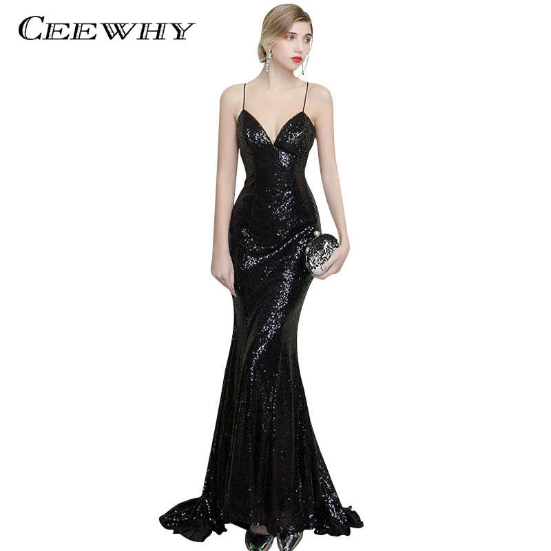 d633faa721 CEEWHY Sexy Backless Long Mermaid Gown Spaghetti Strap Sexy Evening Dress  Sequined Vestido de Festa Court