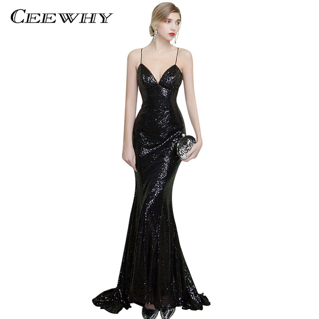 80dfd12e CEEWHY Sexy Backless Long Mermaid Gown Spaghetti Strap Sexy Evening Dress  Sequined Vestido de Festa Court Train Black Prom Dress