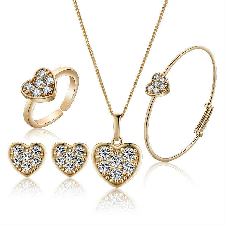 New Arrival Strawberry Girls Gold-Color Child Jewelry Sets Pendant Necklace Bracelet Baby Ring Earrings  1S18K-87