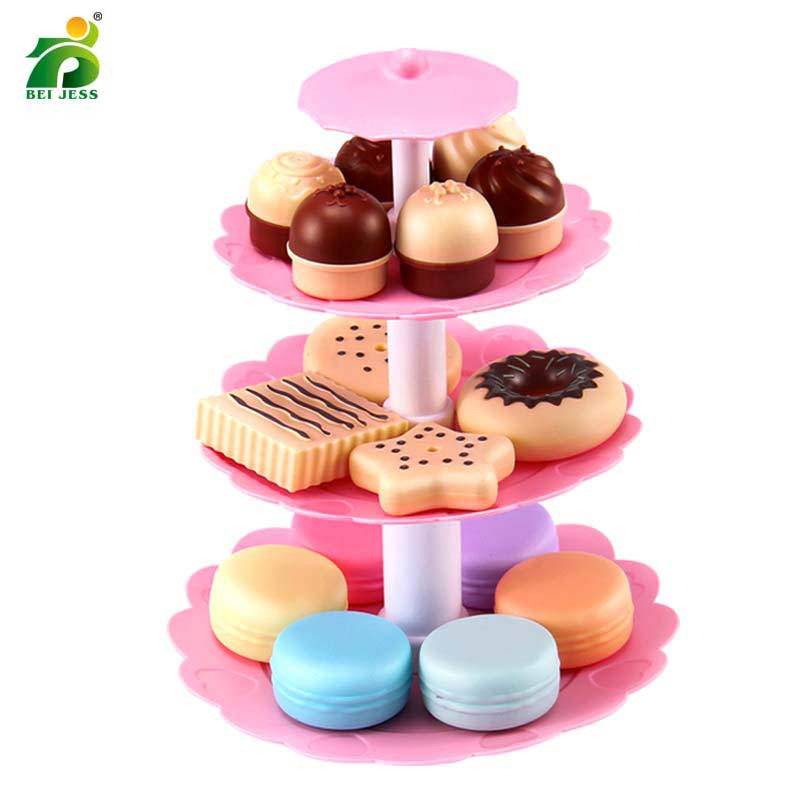 BEI JESS 23PCS Girl Pink Cake Tower Mini Cookie Food Set Plastic Kitchen Toys Kids Pretend Play Birthday Gift(China)