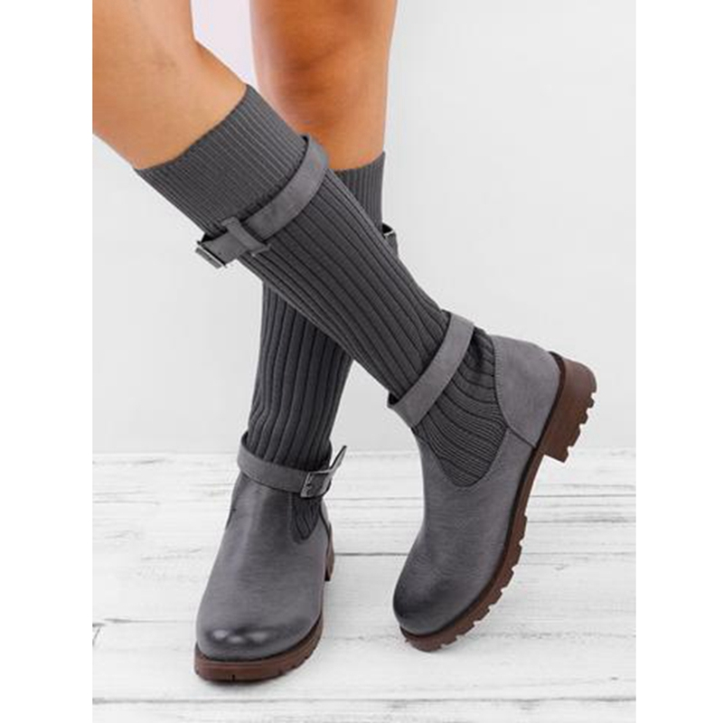 Puimentiua Sock Boots Stretch Chunky Elastic Knee Autumn Winter Plus-Size Women Fashion