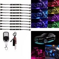10pcs Motorcycle Multi color Flash Lamp 12V RGB LED Under Glow Neon Strip Light Kit Remote Control For Auto Motorbike Decoration