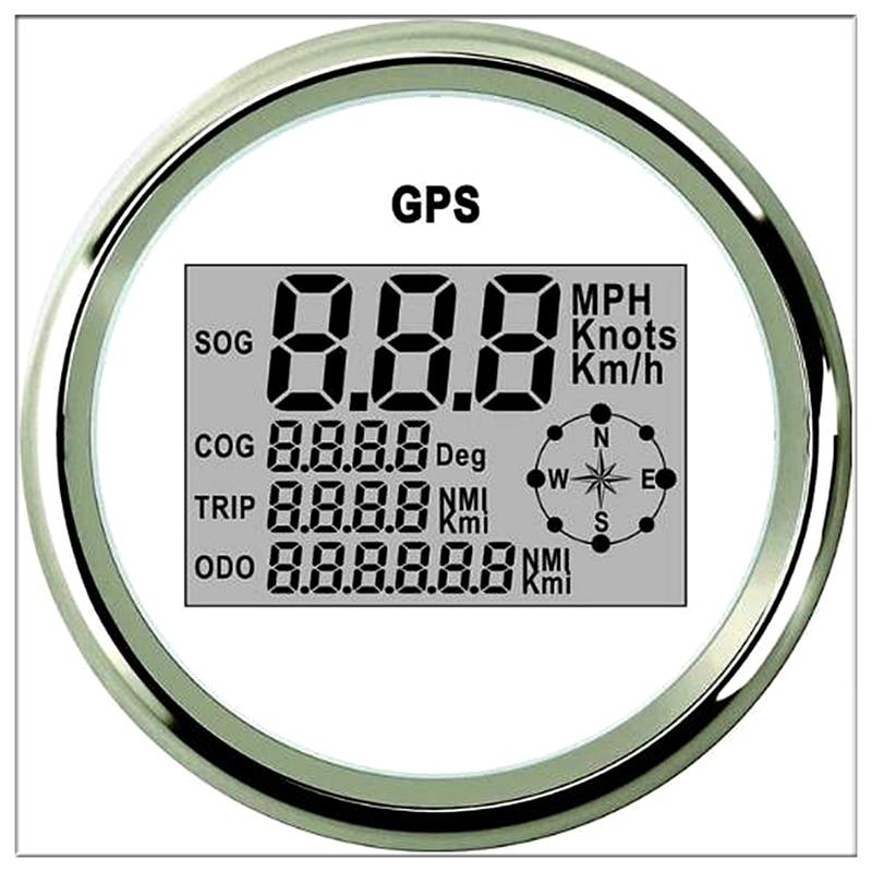 Carro Digital Velocímetro Odômetro GPS 85mm 0-999 nós km/h mph 12 V/24 V com Backlight Iate Navio Barco Moto Carro