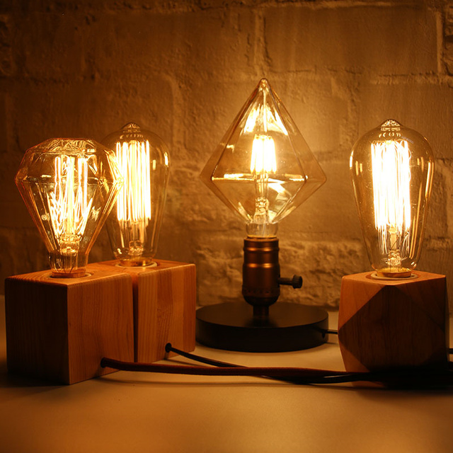 Novelty Abajur Retro Edison Tungsten Bulb Lamp Table Bedroom Decoration Bedside Birthday Gift