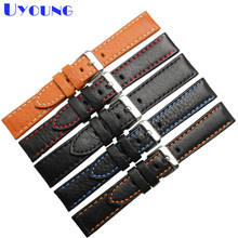 Italian cowhide watch band leather watch strap 20mm 22mm 24mm genuine leather watch belt stitched wristband watch accessories(China)
