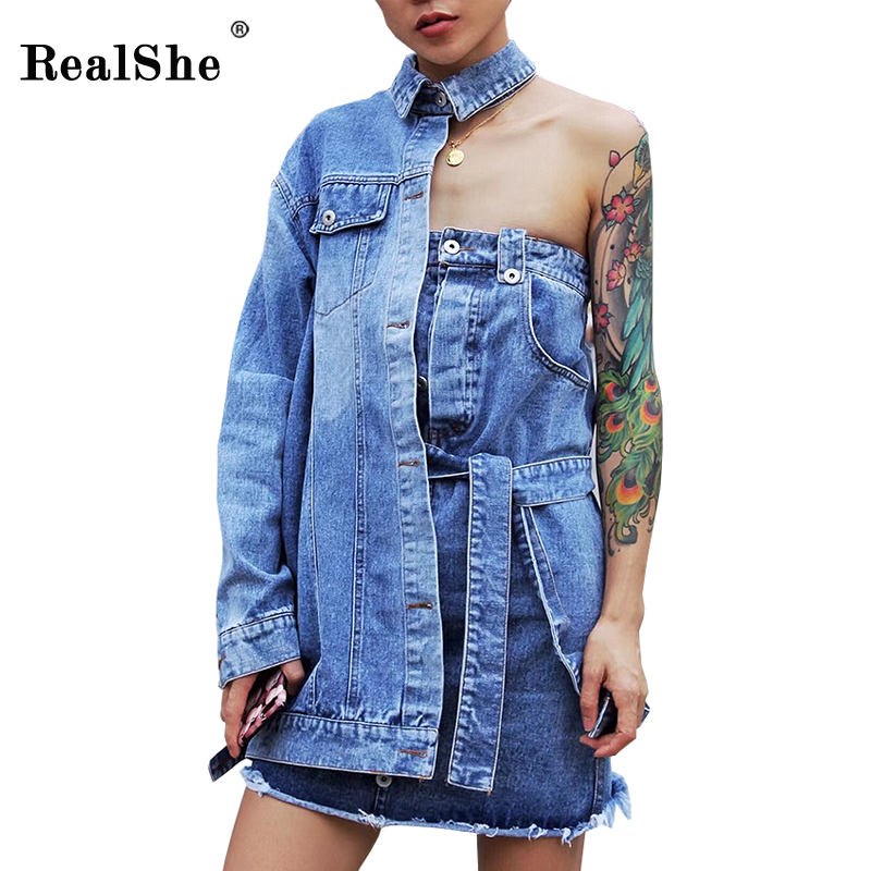 RealShe Women Casual Denim Dresses Long Sleeve Sashes Pockets Asymmetrical Elegant Dress Fashion Feminino Lady Vestidos