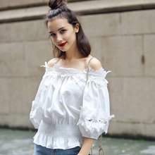 Streetwear Women Blouse Tops Sexy Lace Collar The Waist Off Shoulder Lantern Sleeve White Blouse Shirts Female Blouse Blusas