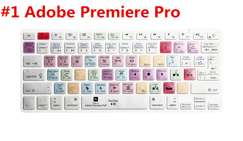 US EU Universal version Adobe Premiere Pro Functional Silicone keyboard cover for Macbook Air Pro Retina 13 15 17 Film Skin