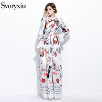 2017 Runway Designer New Spring Summer Maxi Dress Women S High Quality Long Sleeves Scarf Collar