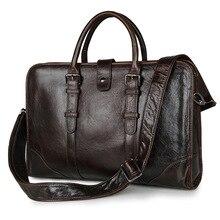 High Quality Genuine Cow Leather Men's Briefcase Dark Coffee Business Portfolio Laptop Handbag Men Messenger Bags J7339