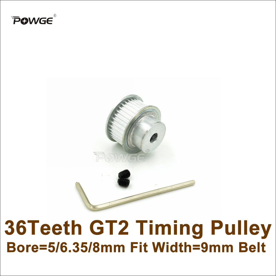POWGE 36 Teeth 2GT Timing Pulley Bore 5/6.35/8mm Fit Width 9mm 2GT Timing Belt 2GT-9 <font><b>36T</b></font> 36Teeth <font><b>GT2</b></font> Pulley For 3D Printer image