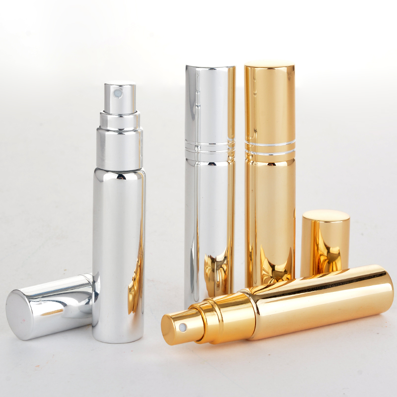 Wholesale 100 Pieces Lot 10ML Portable UV Glass Refillable Perfume Bottle With Atomizer Empty Parfum Case With Tangent Cove in Refillable Bottles from Beauty Health