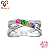 Family Name Birthstone Ring Personalized 925 Sterling Silver Women Rings Customized Free Engrave DIY Stone Mothers
