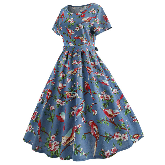 4a72b56dfcd2 Srogem Women Vintage Printing Sleevele Mid-calf A-line Casual Evening Party  Prom Swing