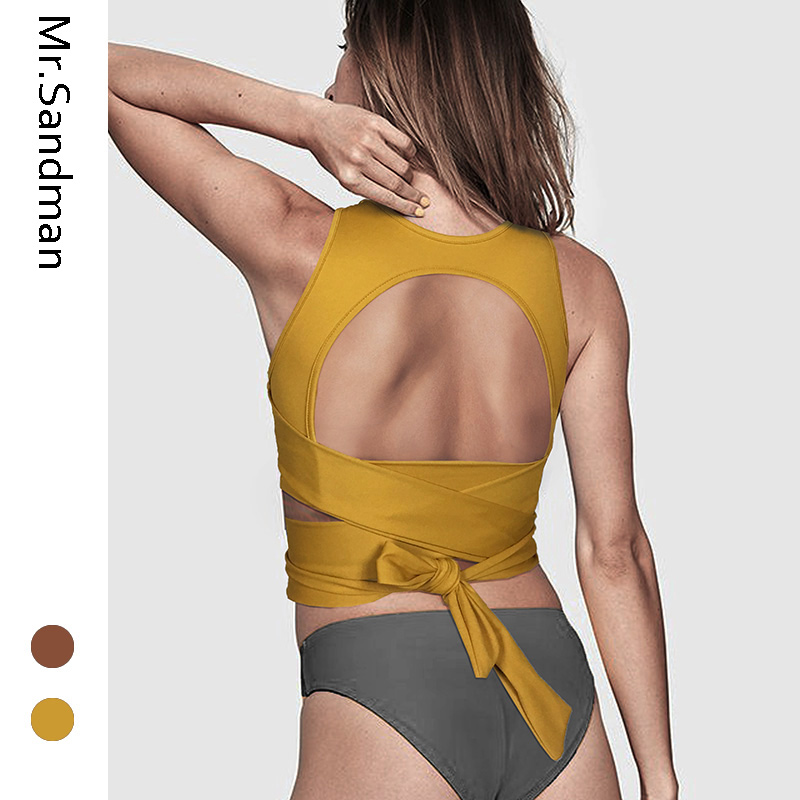 Open back sexy sports bra wide bandage tie bra cross strappy yoga top knot bra high impact workout gym bra fitness crop top 1