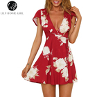 Lily Rosie Girl Red Sexy V Neck Ruffles Short Sleeve Women Mini Dresses 2018 Summer Beach Boho Casual Wrap Floral Print Vestidos