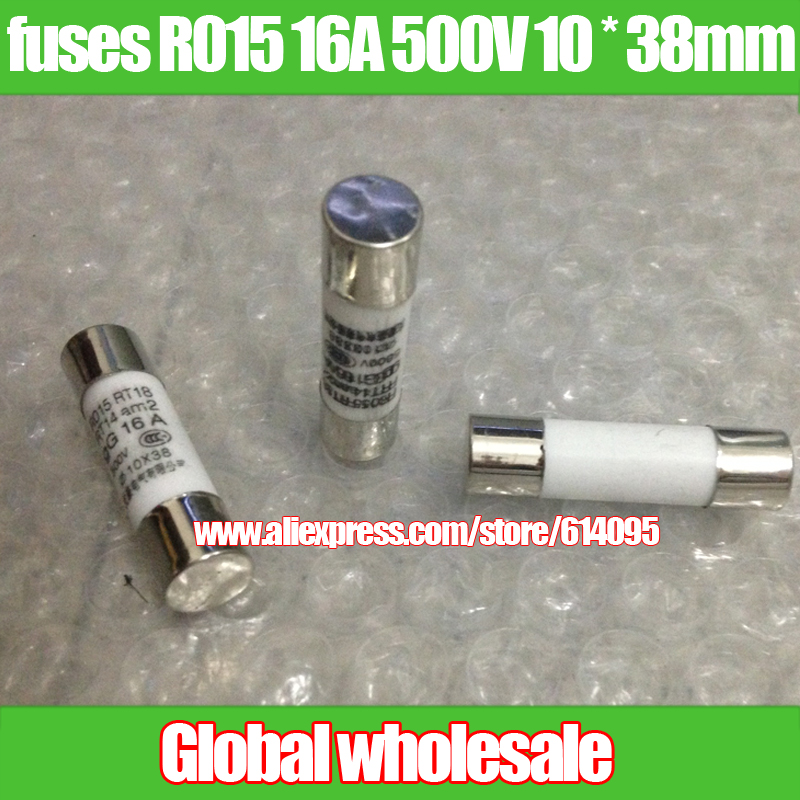 10Pcs 10x38mm size ceramic fuse R015 10A 500V 10A500V NEW Hot Sale