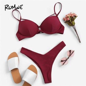 Romwe Sport Бургундия, однотонный топ на косточках с перекрещивающимся крестом, с высокой талией, набор с бикини для женщин 2019, летний сексуальны...